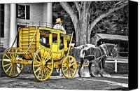 Carriage Canvas Prints - Yellow Carriage Canvas Print by Evelina Kremsdorf
