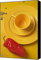 Peppers Canvas Prints - Yellow Cup And Plate Canvas Print by Garry Gay
