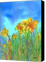 Daffodil Flowers Digital Art Canvas Prints - Yellow Daffodils Canvas Print by Arline Wagner