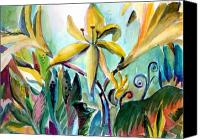 Floral Canvas Prints - Yellow Day Lilies Canvas Print by Mindy Newman