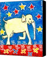 Deep Blue Ceramics Canvas Prints - Yellow elephant facing right Canvas Print by Sushila Burgess