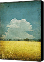 Cloud Digital Art Canvas Prints - Yellow field on old grunge paper Canvas Print by Setsiri Silapasuwanchai
