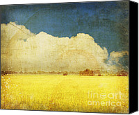 Old Digital Art Canvas Prints - Yellow field Canvas Print by Setsiri Silapasuwanchai