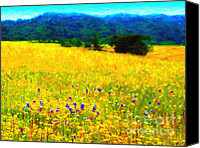 Rolling Hills Canvas Prints - Yellow Hills Canvas Print by Wingsdomain Art and Photography