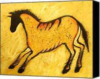 Abstract Equine Canvas Prints - Yellow Horse Modern Cave Painting Canvas Print by Carol Suzanne Niebuhr
