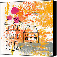 Doodle Canvas Prints - Yellow House Canvas Print by Linda Woods