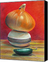 Still Life Pastels Canvas Prints - Yellow Onion Jalapeno Canvas Print by GPaul Lucas
