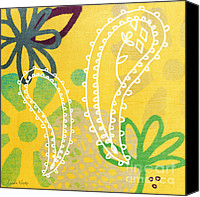 Wild-flower Mixed Media Canvas Prints - Yellow Paisley Garden Canvas Print by Linda Woods