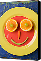 Foodstuff Canvas Prints - Yellow plate with food face Canvas Print by Garry Gay