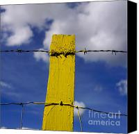 Barbed Wire Fences Photo Canvas Prints - Yellow post Canvas Print by Bernard Jaubert