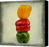 Nostalgic Digital Art Canvas Prints - Yellow red and green bell pepper Canvas Print by Bernard Jaubert