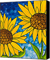 Blue Flowers Painting Canvas Prints - Yellow Sunflowers Canvas Print by Sharon Cummings