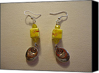 Glitter Earrings Jewelry Canvas Prints - Yellow Swirl Follow Your Heart Earrings Canvas Print by Jenna Green