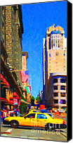 Powell Street Digital Art Canvas Prints - Yellow Taxicab Crossing Powell Street In San Francisco Canvas Print by Wingsdomain Art and Photography