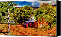 Country Dirt Roads Painting Canvas Prints - Yesteryear Canvas Print by John Thompson