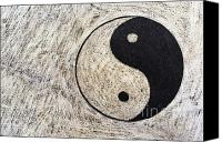 Unity Canvas Prints - Yin and yang symbol on drum Canvas Print by Sami Sarkis