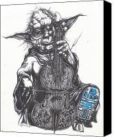 Drawing Drawings Canvas Prints - Yoda Soothes Baby R2 With the Charm of His Homegrown Cello Canvas Print by Iosua Tai Taeoalii