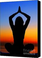 Yoga Canvas Prints - Yoga woman over sunset Canvas Print by Anna Omelchenko