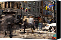 Crosswalk Canvas Prints - Yonge and Queen street intersection Canvas Print by Igor Kislev