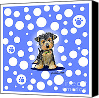 Fun Mixed Media Canvas Prints - Yorkie Boy on Blue Canvas Print by Kim Niles
