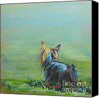 Green Canvas Prints - Yorkie in the Grass Canvas Print by Kimberly Santini