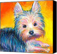 Austin Pet Artist Canvas Prints - Yorkie puppy painting print Canvas Print by Svetlana Novikova