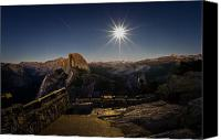 Sierra Canvas Prints - Yosemite National Park Half Dome Full Moon Canvas Print by Scott McGuire