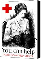 Red Cross Mixed Media Canvas Prints - You Can Help American Red Cross Canvas Print by War Is Hell Store