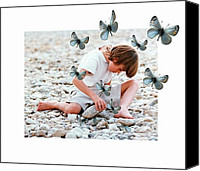 Boy Digital Art Canvas Prints - You never know what a stone can hide Canvas Print by Gun Legler