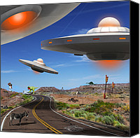 Ufo Canvas Prints - You Never Know What You will See On Route 66 2 Canvas Print by Mike McGlothlen