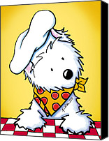 Westie Canvas Prints - You Wanna Pizza Me II Canvas Print by Kim Niles