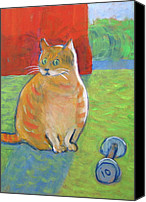 Tabby  Painting Canvas Prints - You Want Me to Do What . . .  Canvas Print by Kazumi Whitemoon