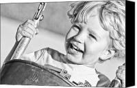 Caucasian Appearance Canvas Prints - Young Boy Smiling Swinging In A Swing Canvas Print by Robert Postma