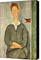 Modigliani Canvas Prints - Young boy with red hair Canvas Print by Amedeo Modigliani