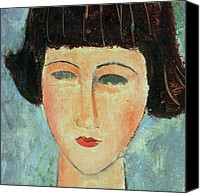 Modigliani Canvas Prints - Young Brunette Canvas Print by Modigliani