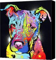 Animal Art Mixed Media Canvas Prints - Young Bull Pitbull Canvas Print by Dean Russo