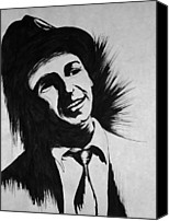 Frank Sinatra Drawings Canvas Prints - Young Frank Sinatra Canvas Print by Erika Butterfly