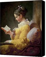 Reading Painting Canvas Prints - Young Girl Reading Canvas Print by JeanHonore Fragonard
