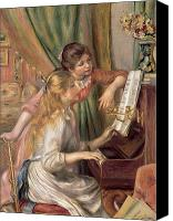 1919 Canvas Prints - Young Girls at the Piano Canvas Print by Pierre Auguste Renoir