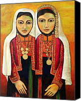 Middle East Canvas Prints - Young Girls in Traditional Palestinian Dress Canvas Print by Munir Alawi