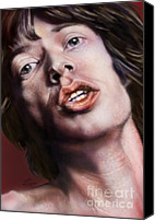 Singer Painting Canvas Prints - Young Jagger-Like A Rolling Stone Canvas Print by Reggie Duffie