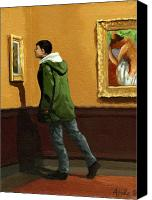 Linda Apple Canvas Prints - Young Man Viewing Art - painting Canvas Print by Linda Apple