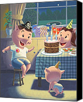 Boy Room Art Canvas Prints - Young Pig Birthday Party Canvas Print by Martin Davey