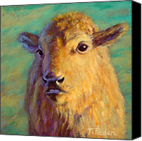 Buffalo Painting Canvas Prints - Young Prince of the Prairie Canvas Print by Theresa Paden