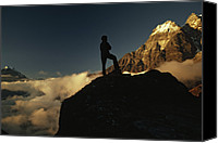 Success Photo Canvas Prints - Young Sherpa Atop Pass Above Lukla Canvas Print by Gordon Wiltsie