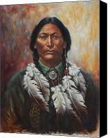 Feathers Painting Canvas Prints - Young Sittingbull Canvas Print by Harvie Brown