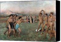 Athletes Canvas Prints - Young Spartans Exercising Canvas Print by Edgar Degas