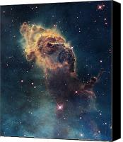 Nebula Canvas Prints - Young Stars Flare In The Carina Nebula Canvas Print by Nasa/Esa