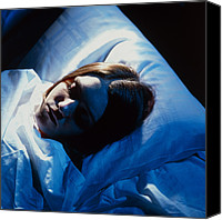 Rhythms Canvas Prints - Young Woman Asleep Canvas Print by Tony Mcconnell