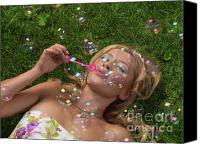 Soap Bubbles Canvas Prints - Young Woman Having Fun in Summer Canvas Print by Oleksiy Maksymenko